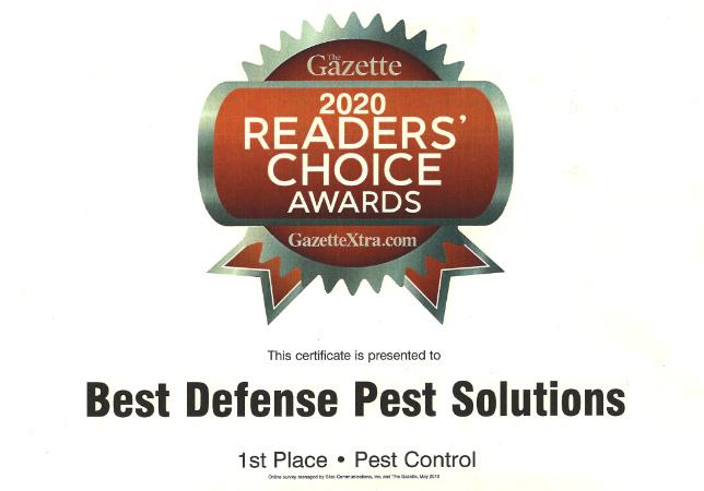 Best pest control winner certificate - Best Defense Pest Solutions - Janesville Wi